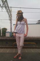pink vintage Zucca pants - brown Beams hat