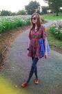 Orange-jeanasis-dress-gray-uniqlo-leggings-brown-zara-shoes-blue-marimekko