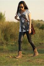 green coast boots - Stradivarius leggings - Zara shirt - Oakley sunglasses
