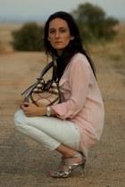 bubble gum blouse - shoes - jeans - bag