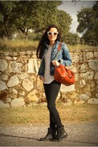 blue Zara jacket - black Mango jeans - brick red Bimba&Lola bag