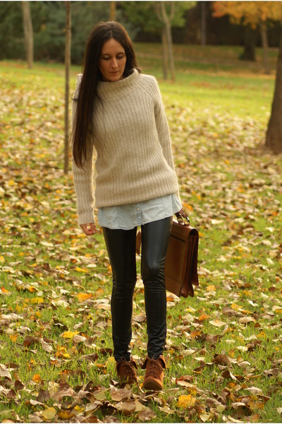 boots - sweater - leggings - shirt - bag