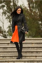 skirt - coat - bag - heels