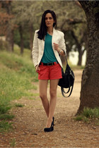 white Mango blazer - black Adolfo Dominguez bag - ruby red Bershka shorts
