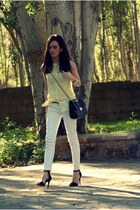 Zara blouse - BLANCO bag - Zara heels - zara lefties pants