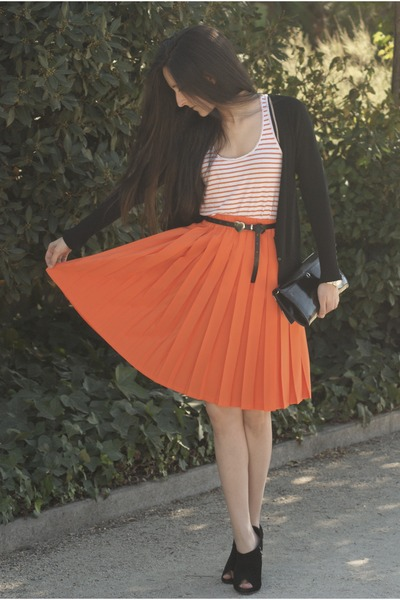 shoes - bag - cardigan - skirt