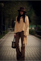 brown Cimarron pants - dark brown Bershka hat - dark brown Tommy Hilfiger bag