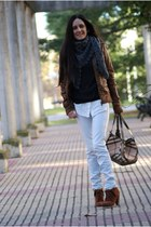 jacket - boots - jeans - scarf - bag