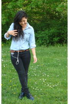 blue vintage shoes - black new look jeans - blue Topshop shirt