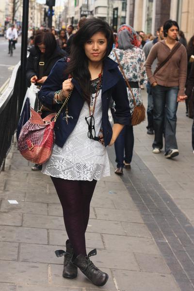 gray shoes - purple TKmaxx dress - pink River Island accessories - blue h&m via