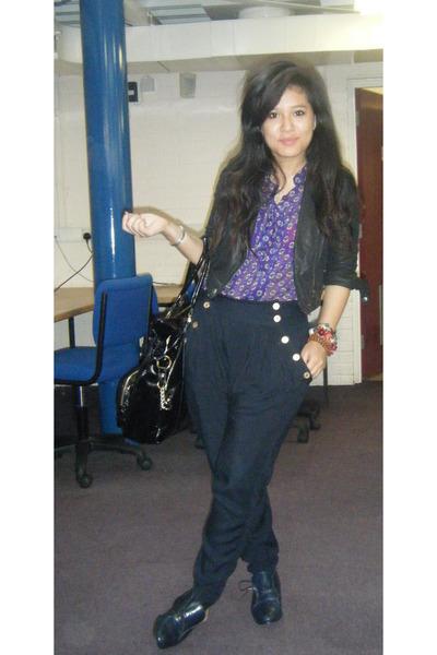 blue vintage shoes - black warehouse jacket - blue vintage blouse - black Topsho