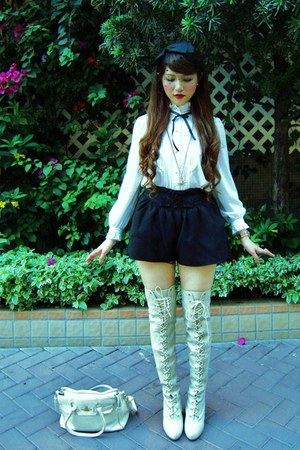 ivory knee-high boots snidel boots - white frilly Secondhand shirt - white vivie