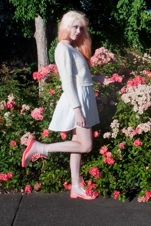 hot pink transparent Chicwish boots - white Lookbook Store dress