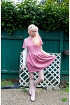 light pink Forever 21 boots - pink smock Kee Boutique dress