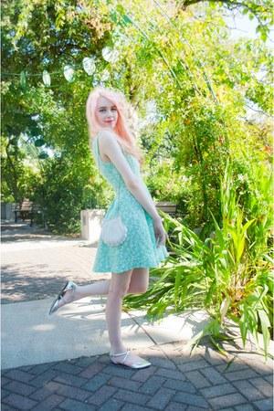 aquamarine floral SwayChic dress - silver asos flats