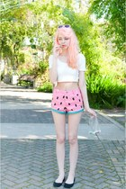 bubble gum watermelon Lazy Oaf shorts - white crop Forever 21 top