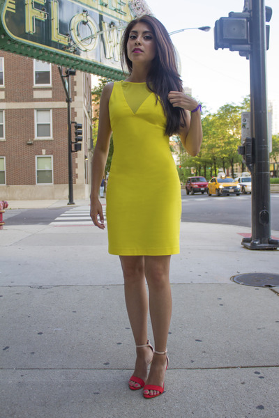 yellow zar dress - Zara heels