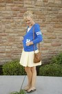 Light-yellow-eyelet-modcloth-dress-blue-boyfriend-forever-21-cardigan