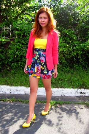 hot pink Betsey Johnson skirt - hot pink random brand blazer - yellow H&M blouse
