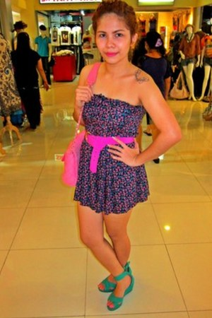 turquoise blue H&M shoes - hot pink Topshop romper