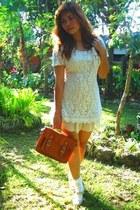 neutral random brand dress - tawny vintage bag