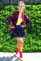purple fasyonablemultplycom blazer - yellow H&M blouse - purple H&M skirt
