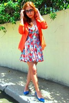 carrot orange Topshop dress - carrot orange fasyonablemultiplycom blazer - blue