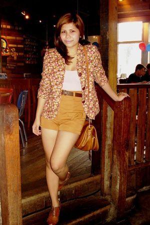 pink blazer - pink Zara blouse - brown random brand shorts - brown thrifted