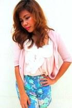 light blue fasyonablemultiplycom shorts - light pink gifted from korea blouse -