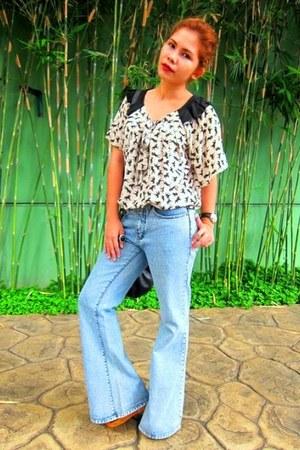 ivory Zara blouse - light blue vintage pants - black Soule Phenomenon wedges