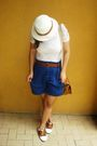 White-zara-blouse-blue-zara-shorts