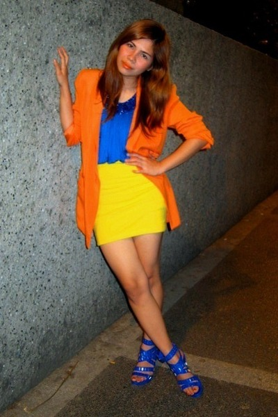 blue random brand dress - carrot orange fasyonablemultplycom blazer - yellow ran