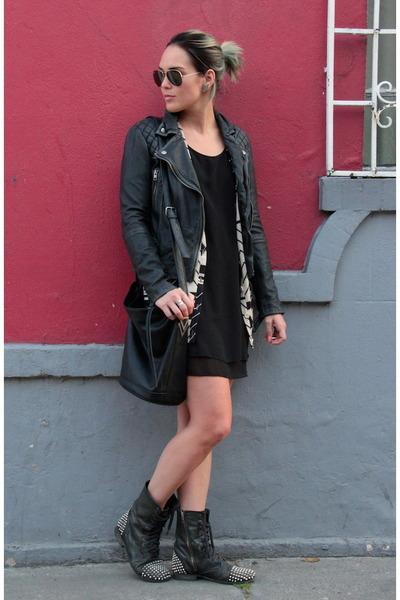 All Saints jacket - Steve Madden boots - GINA TRICOT dress - Forever 21 bag