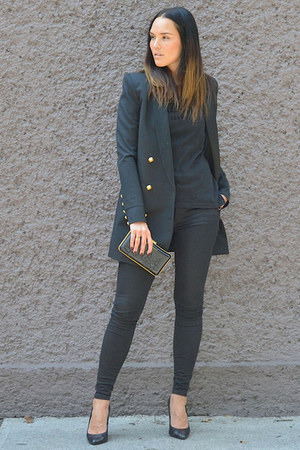 American Eagle jeans - Balmain x H&M blazer - Alexia Ulibarri bag
