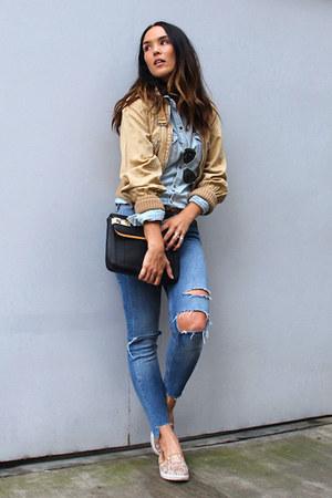 Zara shirt - Bershka jeans - Zara bag - Ray Ban sunglasses - H&M flats