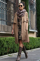 H&M scarf - vintage boots - ted baker dress - Zara jacket - Ray Ban sunglasses