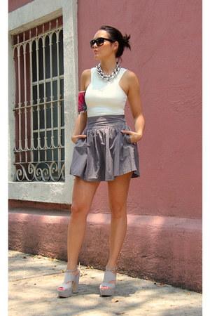Forever 21 necklace - Adolfo Dominguez purse - Prada sunglasses - c&a heels