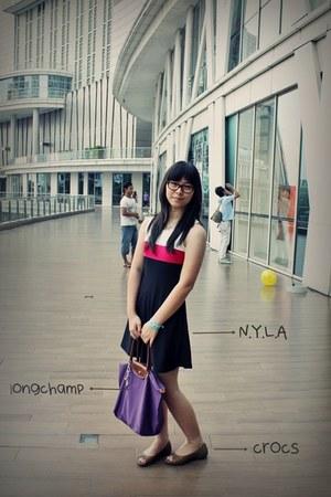 longchamp bag - NyLa dress - Crocs flats