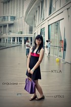 longchamp bag - NyLa dress - Crocs flats
