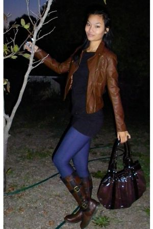 brown Bluebird bag - brown boots - blue leggings - brown jacket - black supre to