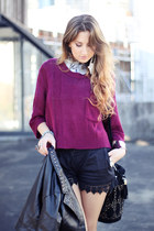 periwinkle denim vest cotton on vest - maroon cropped knit Alive Girl sweater