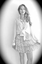 white transparent supre shirt - sky blue vintage skirt