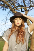 dark brown vintage hat - heather gray vintage top