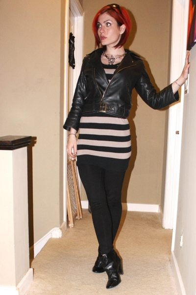 delias jacket - Target dress - leggings - vintage necklace - vintage necklace -