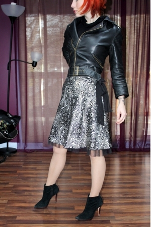 delias jacket - Secondhand skirt - boutique boots - random brand from Loehmans s