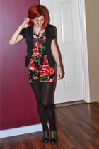 black leggings - green lace-up thrifted shoes - black floral short f21 dress