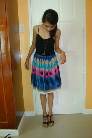 black Forever 21 top - navy skirt - black wedges