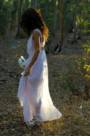 white wedding self-made dress