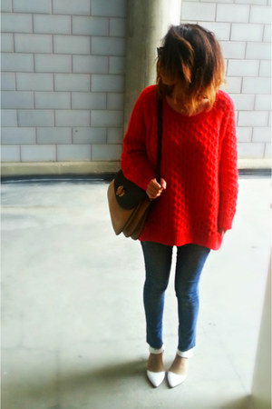 red knit H&M sweater - skini Zara jeans