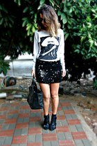 black sequin L vintage skirt - silver cotton Forever 21 sweater